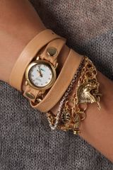 La Mer Collections Palm Springs Vintage Charms Watch in Beige (camel) - Lyst