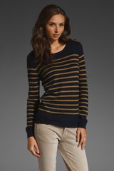 American Vintage Striped Sweater in Navy/honey - Lyst