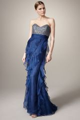 Badgley Mischka Beaded-bodice Organza Gown - Lyst