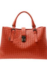 Bottega Veneta Roma Intrecciato Woven Leather Bag - Lyst