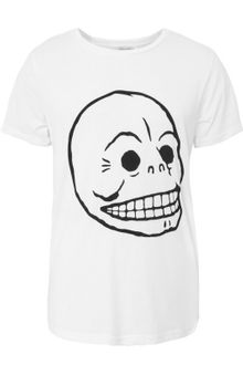 Cheap Monday Bruce Skull White T-shirt - Lyst