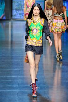 D&G Spring 2012 Multi Print Panelled Denim Tunic  - Lyst