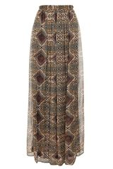 Etro Aztec Printed Silk Maxiskirt in Brown (brown multi) - Lyst