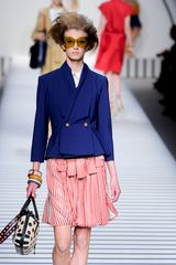 Fendi Spring 2012 White And Red Stripe Print Knee Lenght Skirt - Lyst