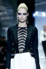 Gucci Spring 2012 Black Short Boxy Jacket With Gold Buttons And Blue Stripe Detail - Lyst