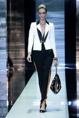 Gucci Spring 2012 Black High Waisted Pants With Tuxedo Orange Stripes Down The Sides
