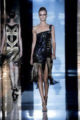 Gucci Spring 2012 Metallic Multicolor Art Deco Embroidered One Shoulder Cocktail Dress With Fringed Skirt - Lyst