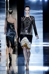 Gucci Spring 2012 Black See Through Art Deco Print Cocktail Dress With Long Sleeves And Multicolor Frigned Skirt - Lyst