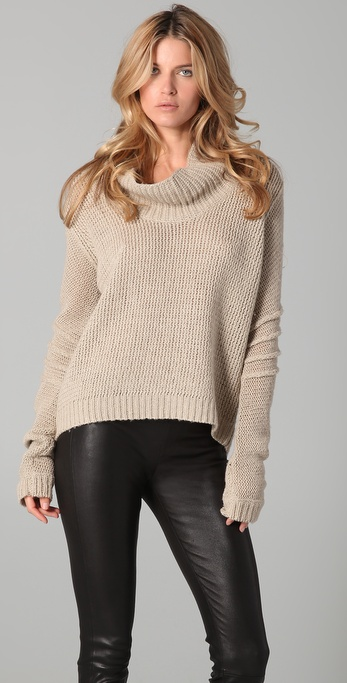 Helmut lang Cowl Neck Sweater in Natural | Lyst
