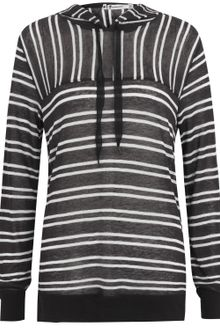 T By Alexander Wang Sheer Stripe Hooded Top - Lyst