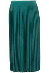 Topshop Pleated Calf Skirt in Green - Lyst