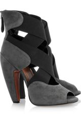 Alaïa Cross-strap Suede Sandals - Lyst