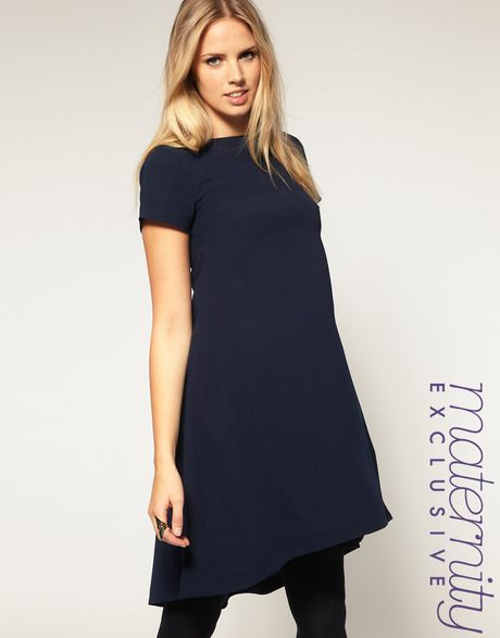 Asos Collection Asos Maternity Exclusive Swing Dress with Dipped Hem in Blue (navy) - Lyst