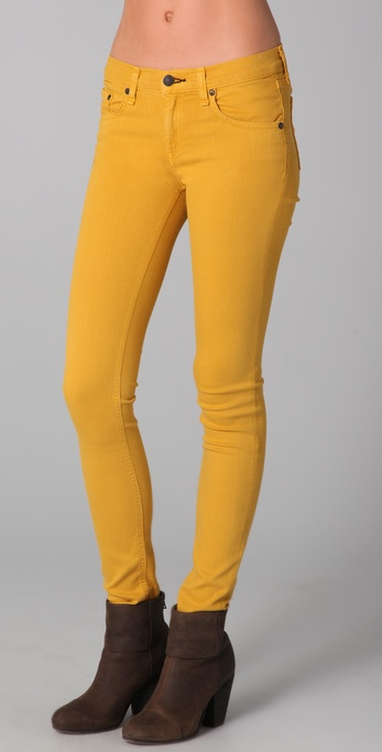 Rag & bone Skinny Jeans in Yellow | Lyst