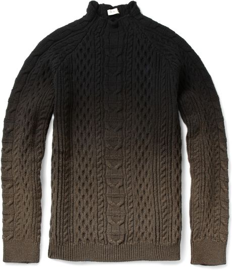 Balenciaga Ombré Aran Knit Sweater in Black for Men