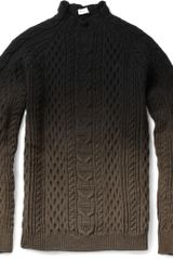 Balenciaga Ombré Aran Knit Sweater in Black for Men - Lyst