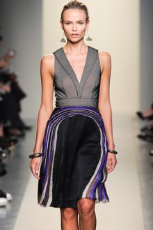 Bottega Veneta Spring 2012 Two-Peace Dress With Deep Decolletage Top And Sheer Pleated Detail Skirt In Grey And Blue - Lyst
