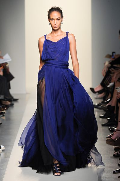 Bottega Veneta Spring 2012 See Through Silk Chiffon Pleated Gown In Deep Blue in Blue (black, blue) - Lyst