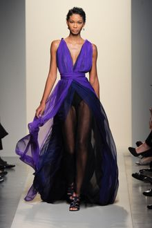 Bottega Veneta Spring 2012 Sheer Layered Pleated Gown With Deep Decolletage In Purple And Black - Lyst