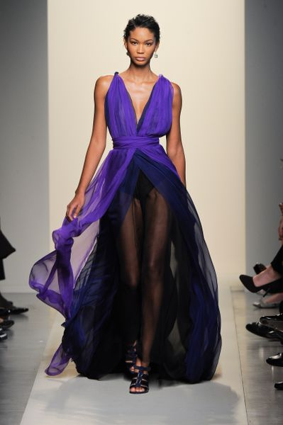 Bottega Veneta Spring 2012 Sheer Layered Pleated Gown With Deep Decolletage In Purple And Black in Purple (black, purple) - Lyst