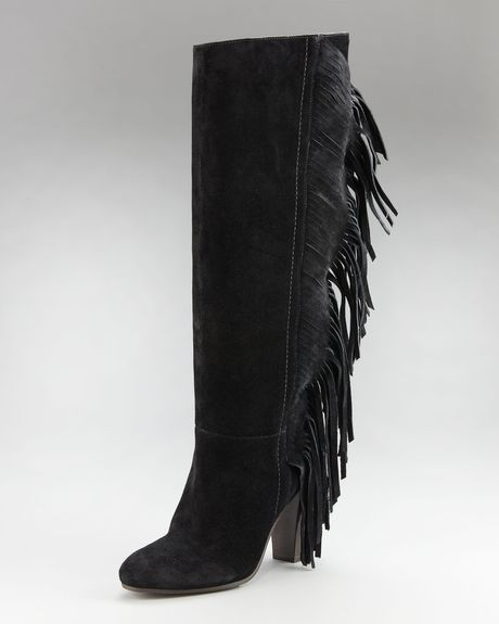 Diane Von Furstenberg Penn Backfringe Boot in Black - Lyst