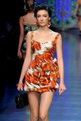 Dolce & Gabbana Spring 2012 Red Pepper Print Mini Dress With Bow Detail - Lyst