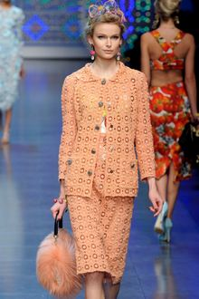Dolce & Gabbana Spring 2012 Peach Crocheted Jacket with Front Pockets (Skirt Suit) - Lyst
