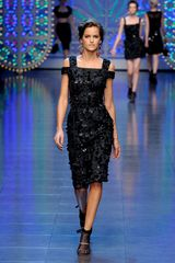 Dolce & Gabbana Spring 2012 Black Embellished Peep Shoulder Cocktail Dress in Black - Lyst