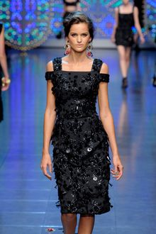 Dolce & Gabbana Spring 2012 Black Embellished Peep Shoulder Cocktail Dress - Lyst