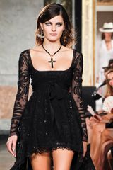 Emilio Pucci Spring 2012 Black Lace Gown With Sheer Long Sleeves And Sequin Embroidery  in Black - Lyst