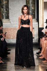 Emilio Pucci Spring 2012 Black Cropped Sheer Lace Tank Top in Black - Lyst