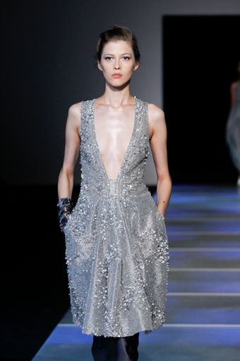 Giorgio Armani Spring 2012 Crystal Embellished Silver Sleeveless Dress With Plunging Neckline - Lyst