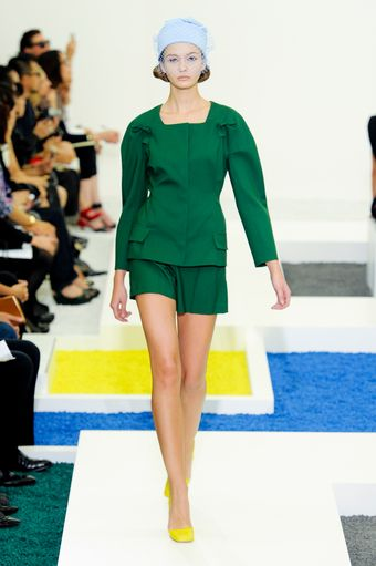 Jil Sander Spring 2012 Square Neck Bow Sleeve Green Jacket  - Lyst