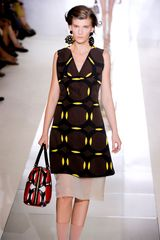 Marni Spring 2012 Multicolor Geometric Print Knee Lenght Dress With White Organza Underpinning - Lyst