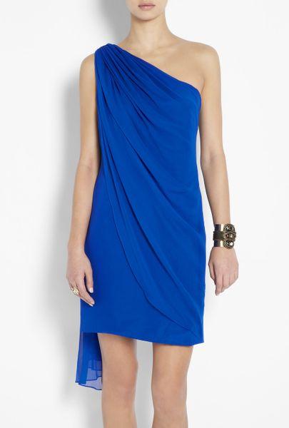 Notte By Marchesa One Shoulder Drape Chiffon Dress in Blue ...