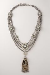 Oscar de la Renta Crystal & Pewter Tassel Necklace - Lyst