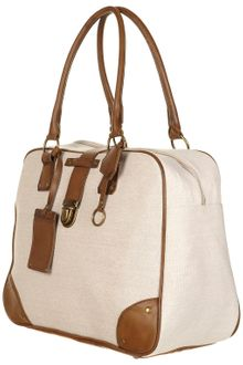 Topshop Canvas Faux Leather Holdall Bag - Lyst