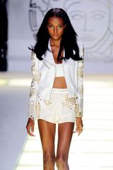 Versace Spring 2012 White Leather High Waisted Mini Shorts - Lyst