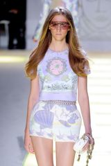 Versace Spring 2012 White High Waisted Mini Shorts With Purple Print - Lyst