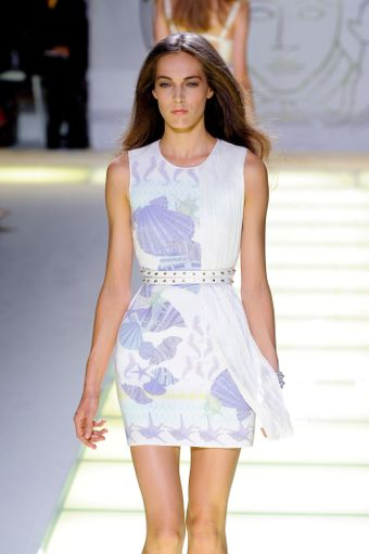 Versace Spring 2012 Starfish Mini Dress with Plisse Detail - Lyst
