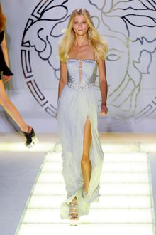 Versace Spring 2012 Evening Dress with Studded Bodice and Plisse Detail - Lyst