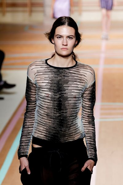 Versus Spring 2012 Crew Neck Sheer Striped Long Sleeve Top in Gray - Lyst