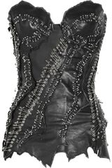 Balmain Embellished Leather Bustier