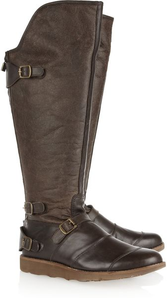 Belstaff Trialmaster Shearling-lined Leather Knee Boots - Lyst