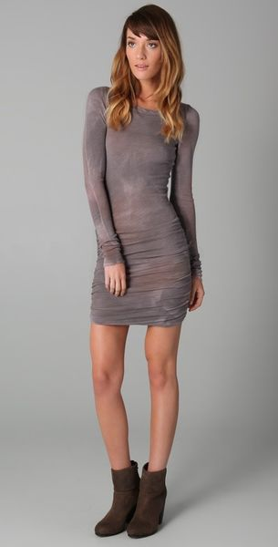 Dolan Shirred Side Mini Dress in Gray (grey) - Lyst