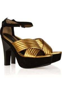 Marni Metallic Leather and Suede Sandals - Lyst