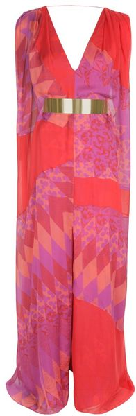 Matthew Williamson Harlequin Chiffon Sail Gown in Multicolor (pink multi) - Lyst