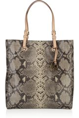 Michael by Michael Kors Jet Set Python-effect Leather Tote - Lyst