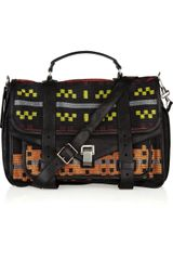Proenza Schouler Ps1 Large Leather and Jacquard Satchel - Lyst