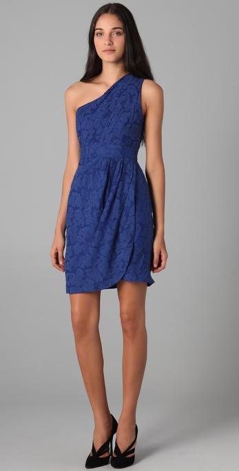 Shoshanna Floral One Shoulder Dress in Blue - Lyst